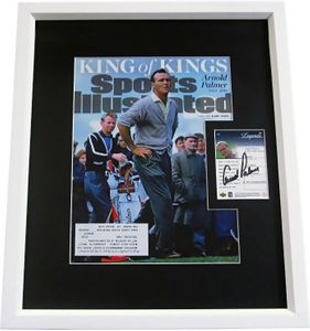 Arnold Palmer autographed 2001 Upper Deck Golf Legends card matted & framed with Sports Illustrated cover