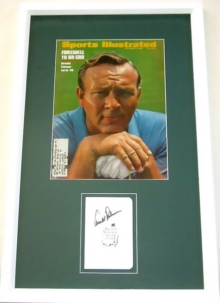Arnold Palmer autographed Augusta National Masters scorecard framed with 1969 Sports Illustrated cover