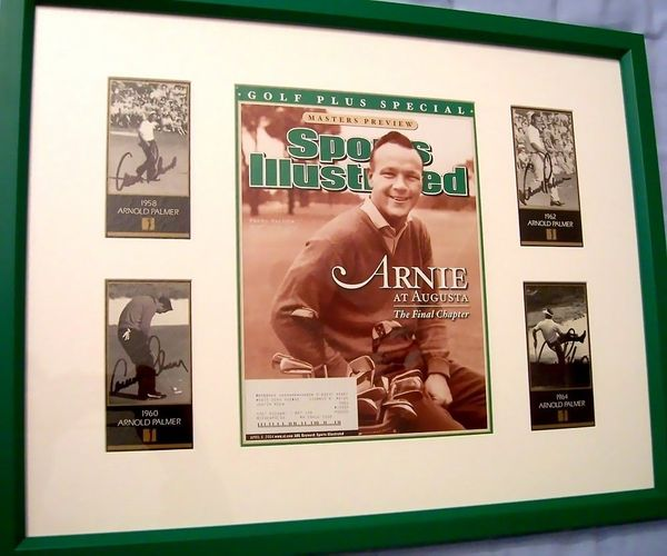Arnold Palmer autographed four Masters Champion cards matted and framed with Sports Illustrated Golf Plus cover