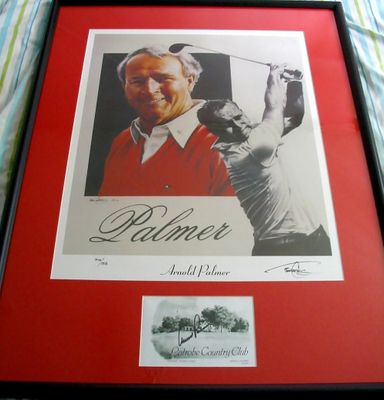 Arnold Palmer autographed Latrobe Country Club scorecard framed with 18x22 inch lithograph
