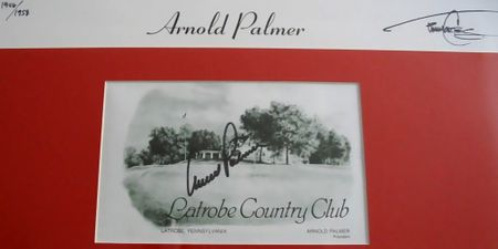 Arnold Palmer autographed Latrobe Country Club golf scorecard matted and framed with 18x22 lithograph