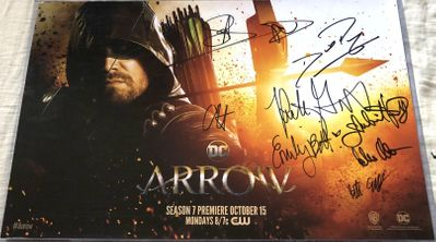 Arrow cast autographed 2018 Comic-Con poster Stephen Amell David Ramsey Colton Haynes Emily Bett Rickards