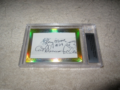 Art Donovan Gino Marchetti and Lenny Moore 2014 Leaf Masterpiece Cut Signature certified autograph card 1/1