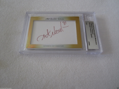 Art Monk and Joe Theismann 2014 Leaf Masterpiece Cut Signature certified autograph card 1/1 JSA