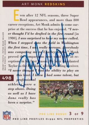 Art Monk certified autographed Washington Redskins 1992 Pro Line card #498