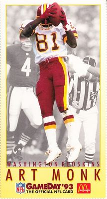 Art Monk Washington Redskins 1993 McDonald's GameDay card