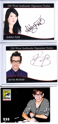 Ashley Fink and Kevin McHale GLEE 2012 Comic-Con certified autograph card set MINT