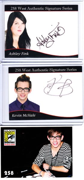 Ashley Fink & Kevin McHale GLEE 2012 Comic-Con certified autograph card set MINT