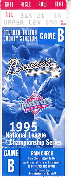Atlanta Braves 1995 NLCS Game 4 ticket stub (Braves sweep Reds and advance to World Series)