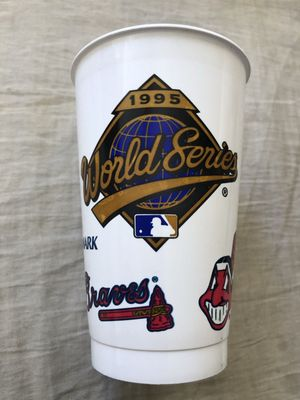 Atlanta Braves 1995 National League Champions World Series logo white plastic cup