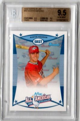 Austin Maddox 2008 AFLAC Bowman Rookie Card graded BGS 9.5 GEM MINT