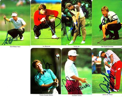 Lot of 7 autographed 1987 Fax Pax golf cards (Ben Crenshaw Sandy Lyle Lee Trevino Tom Watson Ian Woosnam)