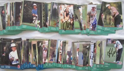 Partial set of 159 autographed 1991 Pro Set PGA Tour golf cards Fred Couples John Daly Gary Player Tom Watson