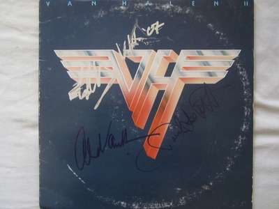 David Lee Roth Alex Van Halen and Eddie Van Halen autographed Van Halen II record album