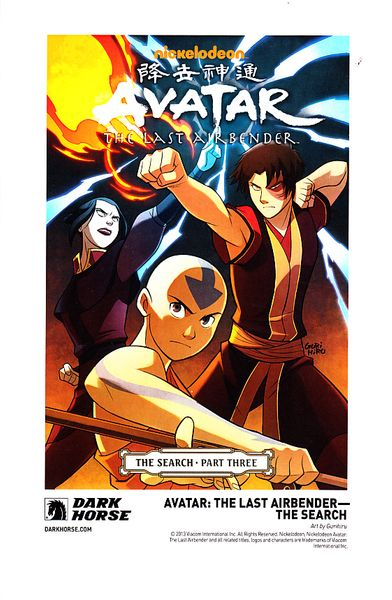 Avatar The Last Airbender The Search Dark Horse 2013 Comic-Con artwork promo card