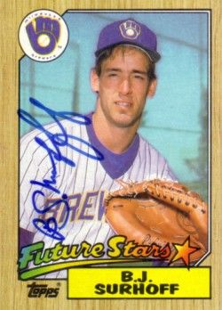 B.J. Surhoff autographed Milwaukee Brewers 1987 Topps Rookie Card