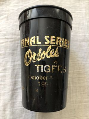 Baltimore Orioles 1991 Memorial Stadium Final Series plastic commemorative cup