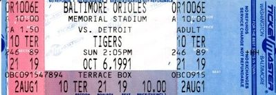 Baltimore Orioles 1991 Memorial Stadium Last Game full ticket