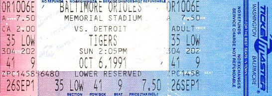 Baltimore Orioles Memorial Stadium October 6 1991 last game ticket