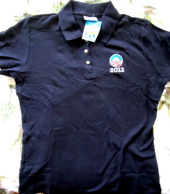 Barack Obama 2012 campaign ladies or women's black golf or polo shirt NEW