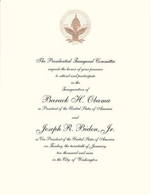 Barack Obama 2009 Inauguration commemorative invitation
