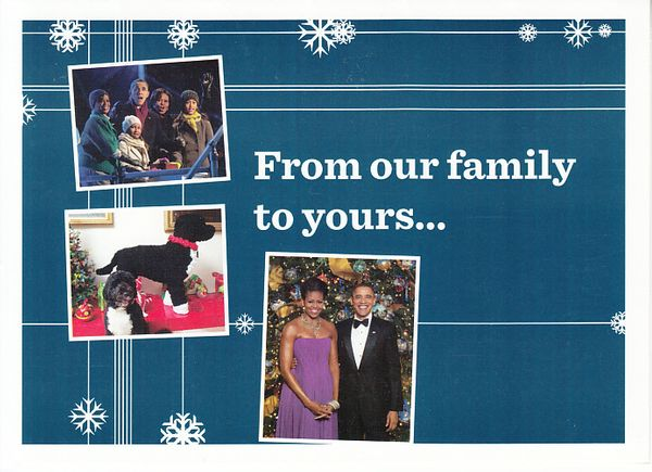 Barack Obama 2012 Christmas card with facsimile signatures