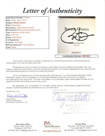 Barack Obama autographed Dreams from My Father softcover book (JSA)