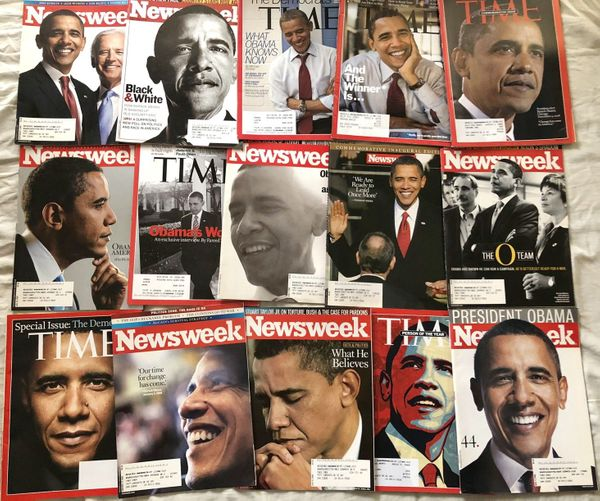 Barack Obama 2007 2008 2009 2012 Newsweek and Time magazine collection (15 different)