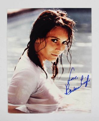 Barbara Leigh autographed sexy wet T-shirt 8x10 photo inscribed Love