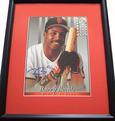 Barry Bonds autographed San Francisco Giants 1997 Donruss Studio 8x10 photo card matted and framed
