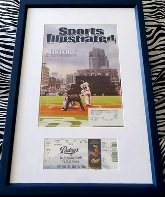 Barry Bonds Home Run 755 Ties Hank Aaron game ticket matted and framed with Sports Illustrated cover