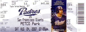Barry Bonds Home Run 755 Ties Hank Aaron 2007 San Francisco Giants Padres full ticket