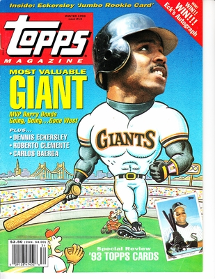 Barry Bonds San Francisco Giants 1993 Topps magazine issue #13 with cards inside