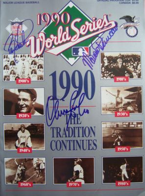 Barry Larkin Mariano Duncan Chris Sabo (Cincinnati Reds) autographed 1990 World Series program