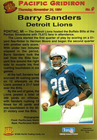 Barry Sanders Detroit Lions 1994 Pacific Gridiron jumbo insert card #9
