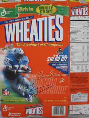 Barry Sanders autographed Detroit Lions 1999 Run for the Record Wheaties box