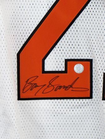 Barry Sanders autographed Oklahoma State Cowboys stitched throwback jersey (Schwartz Sports)