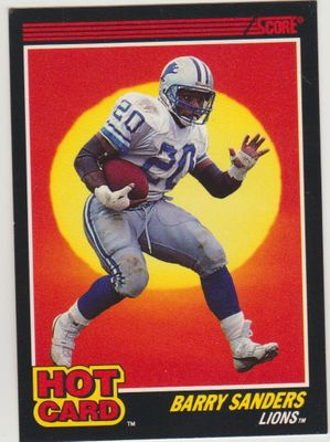 Barry Sanders Detroit Lions 1990 Score Hot Card insert