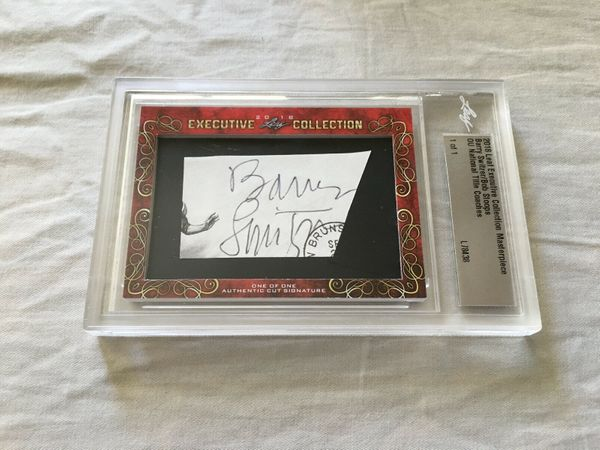 Barry Switzer and Bob Stoops 2018 Leaf Masterpiece Cut Signature certified autograph card 1/1 JSA Oklahoma