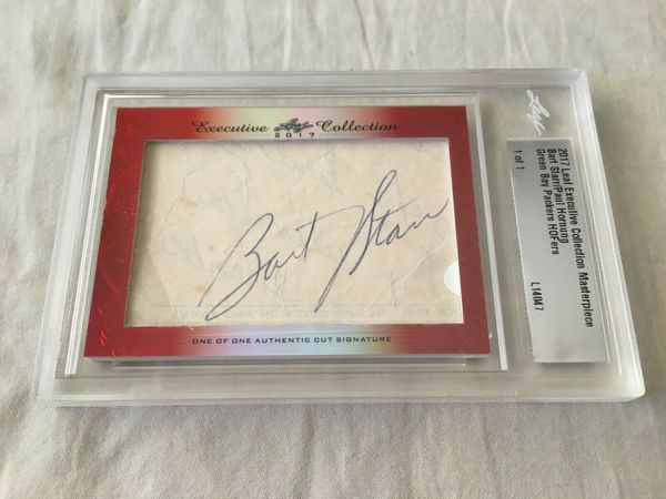 Bart Starr and Paul Hornung 2017 Leaf Masterpiece Cut Signature certified autograph card 1/1 JSA