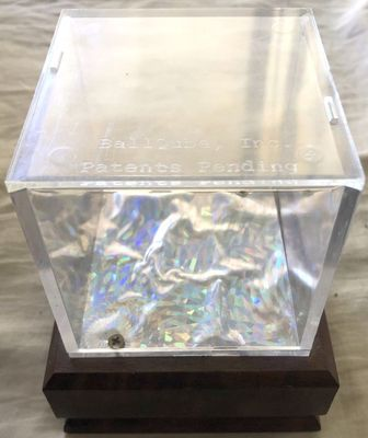 Baseball cube display case holder with wood base (used)