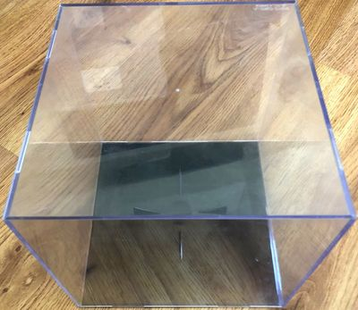 Basketball display case cube holder with black base (used)