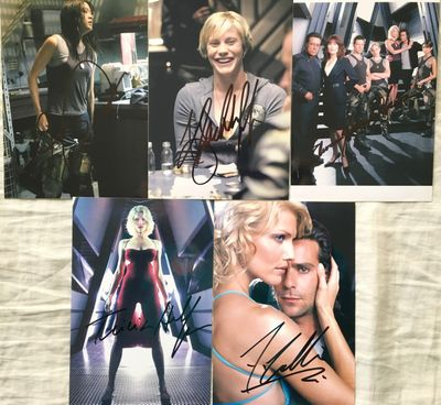 Battlestar Galactica lot of 5 autographed 4x6 photos (James Callis Tricia Helfer Edward James Olmos Grace Park Katee Sackhoff)