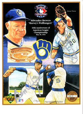 Ben Oglivie and Gorman Thomas autographed 1992 Milwaukee Brewers Upper Deck card sheet