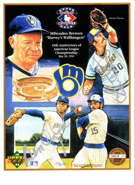 Ben Oglivie & Gorman Thomas autographed 1992 Milwaukee Brewers Harvey's Wallbangers 10th Anniversary Upper Deck card sheet