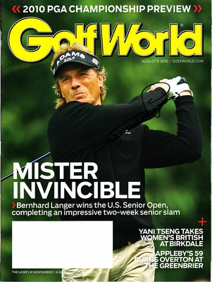 Bernhard Langer autographed 2010 U.S. Senior Open Golf World magazine