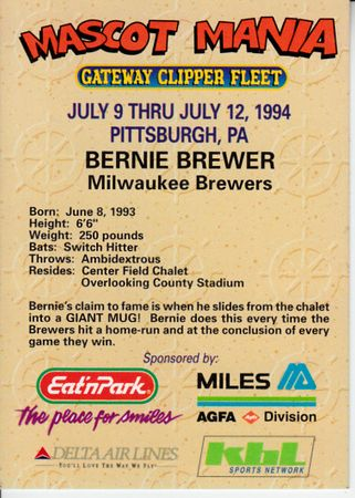 Bernie Brewer 1994 All-Star Game Mascot Mania promo card
