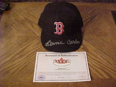 Bernie Carbo autographed Boston Red Sox authentic game model cap or hat (Fleer authenticated)
