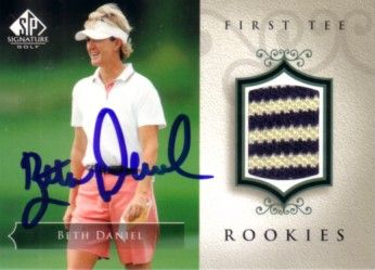 Beth Daniel autographed 2004 SP Signature golf tournament worn shirt card