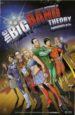 Big Bang Theory complete cast autographed 2011 Comic-Con mini poster (Kaley Cuoco Jim Parsons)